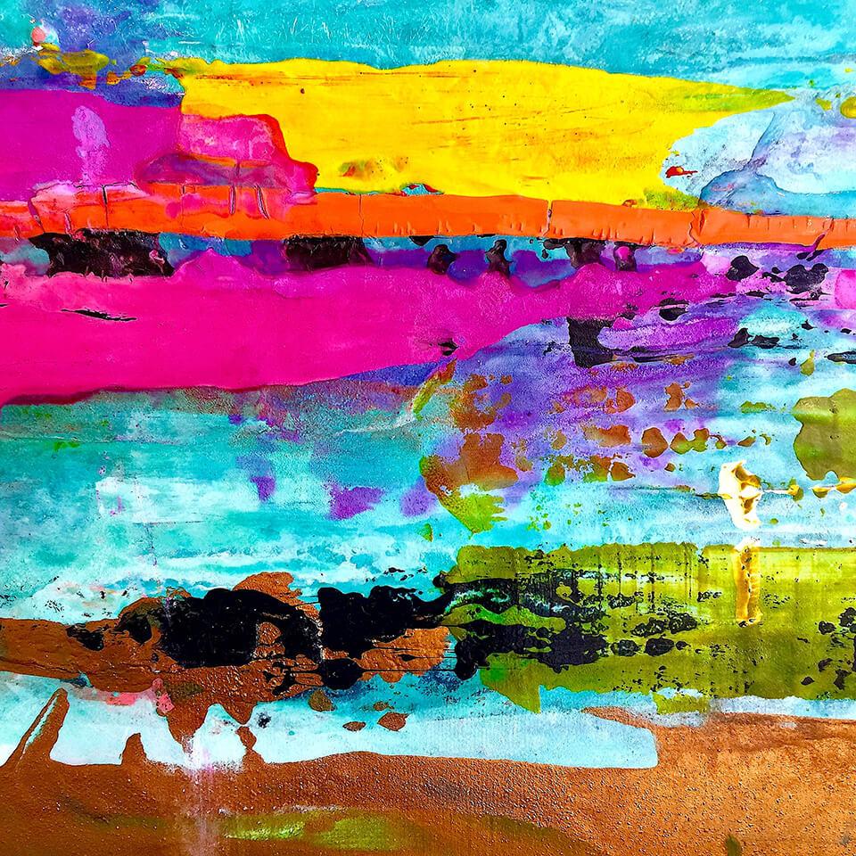 Biddy Hodgkinson 'Burst' Series 60 x 60cm mixed media on canvas unframed