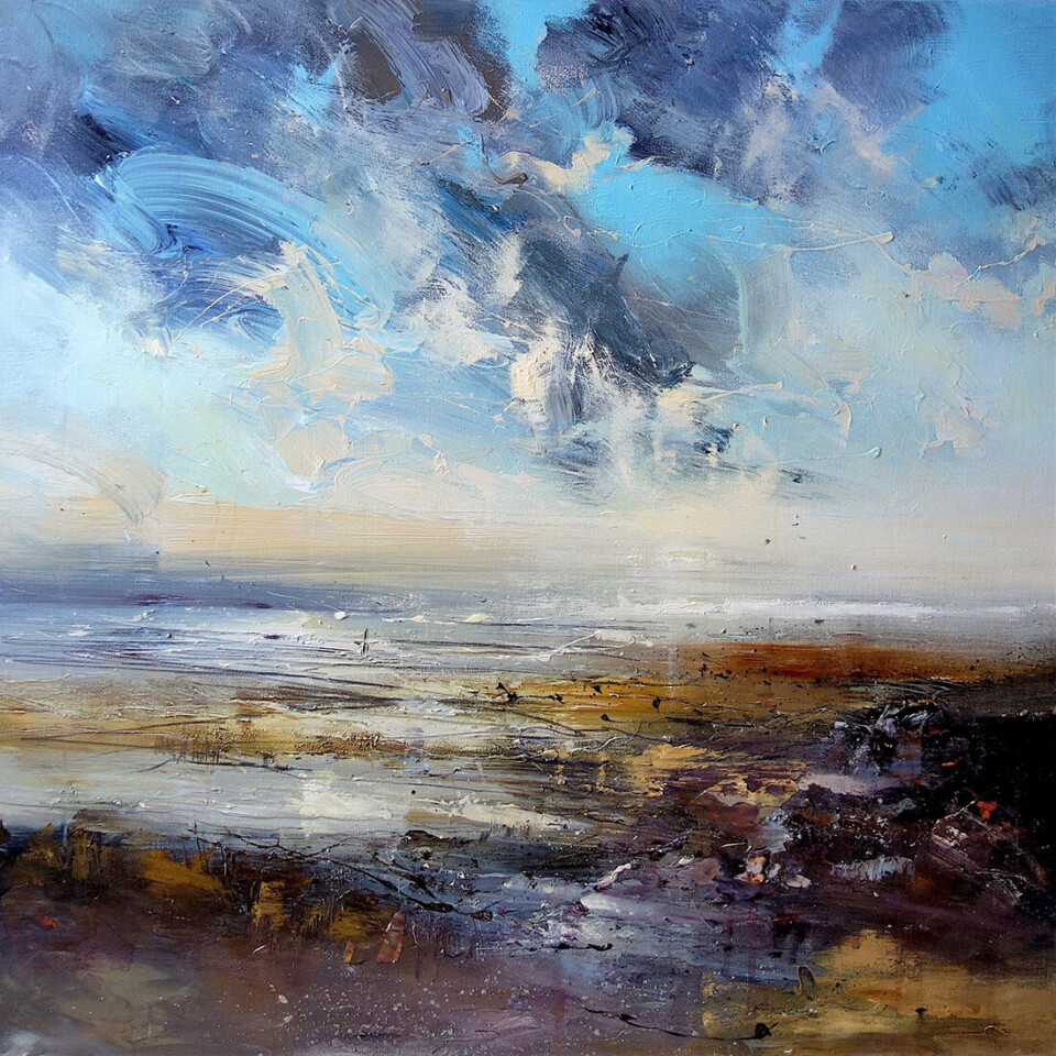 Claire Wiltsher 'Along the Shoreline' mixed media on canvas 80x80cm unframed