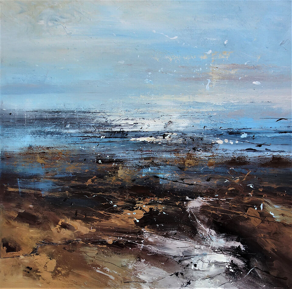 Claire Wiltsher 'Amongst the Clouds I' mixed media on canvas 80 x 80cm unframed