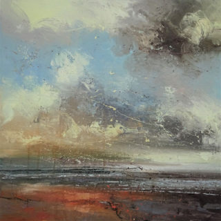 Claire Wiltsher Dancing Clouds II mixed media 80x80cm unframed