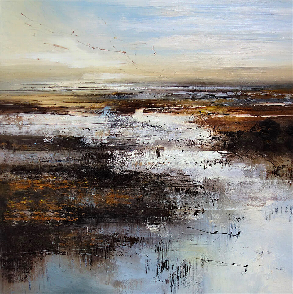 Claire Wiltsher 'Migration' mixed media on canvas 100 x 100cm unframed