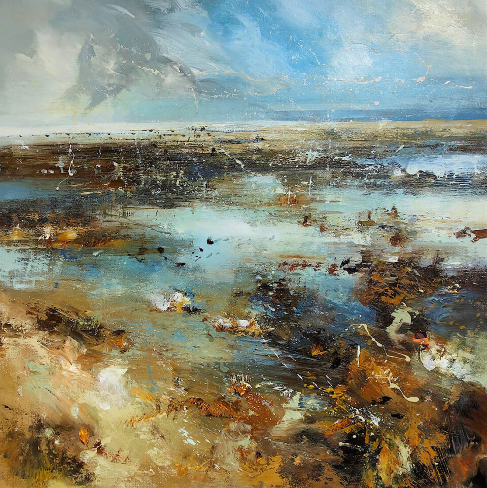 Claire Wiltsher 'Time Collector VIII' mixed media 80x80cm unframed