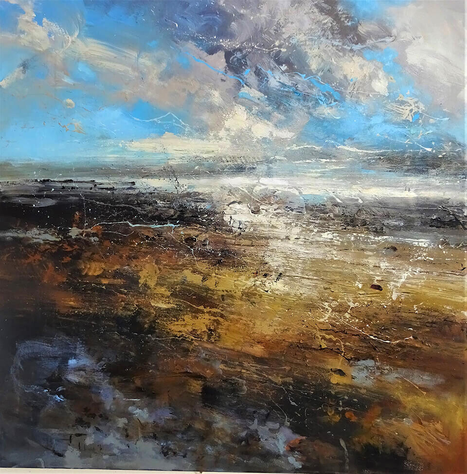 Claire Wiltsher Winter Twilight IV mixed media 80 x 80cm unframed