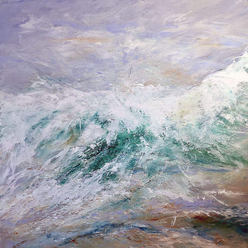 Jennie Slater 'Dancing Waves' oil on canvas 93 x 93cm framed