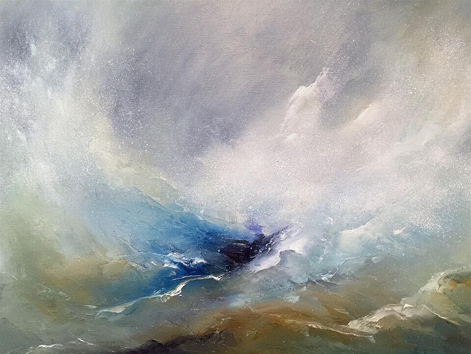 Jennie Slater 'Raging Surf' oil on canvas 64 x 54cm framed