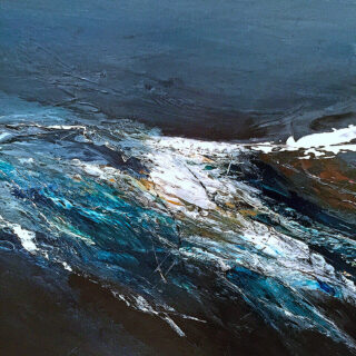 Jennie Slater detail from 'Night Sea' oil on canvas 93 x 93cm framed JPG