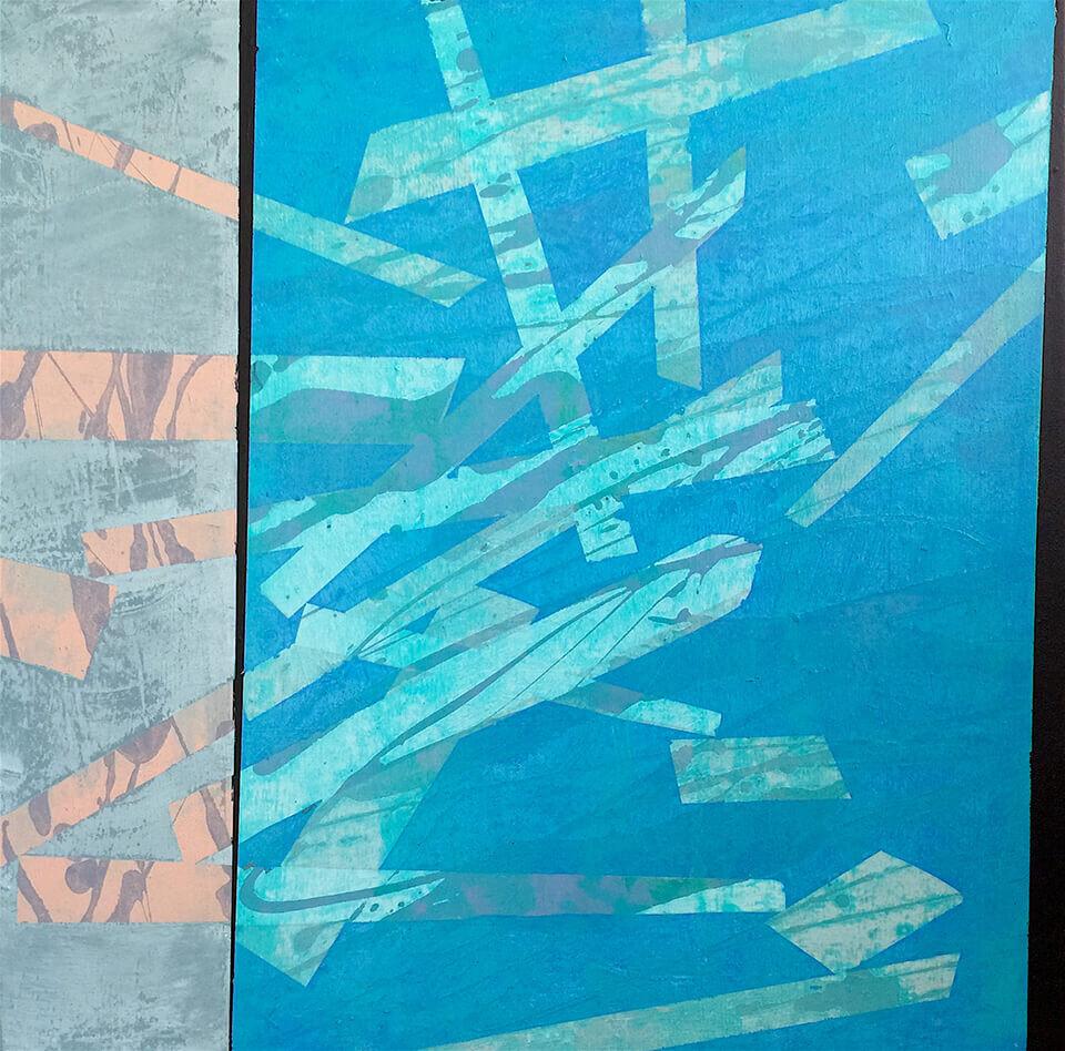 Stephen Powell 'Broken' mixed media on canvas 60 x 60cm unframed