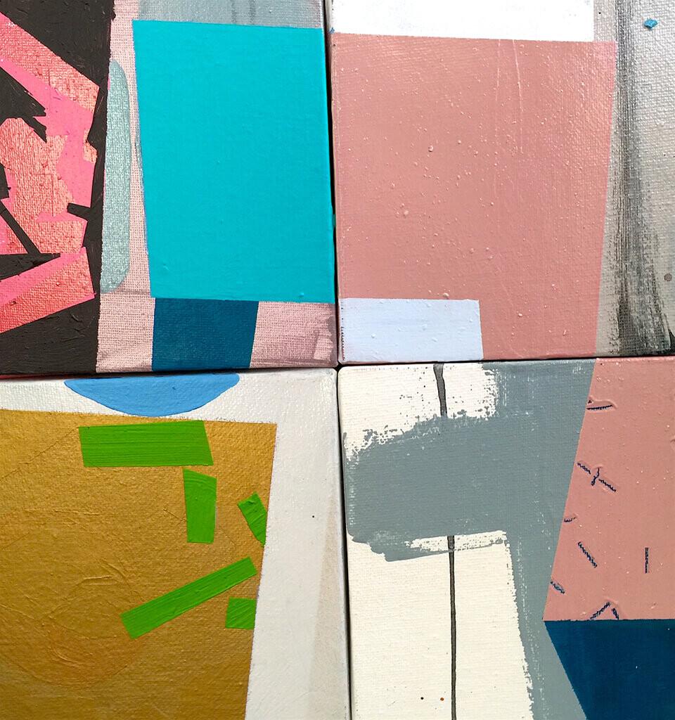 Stephen Powell 'Root Note Ensemble'(detail) mixed media 35 x 35cm box framed
