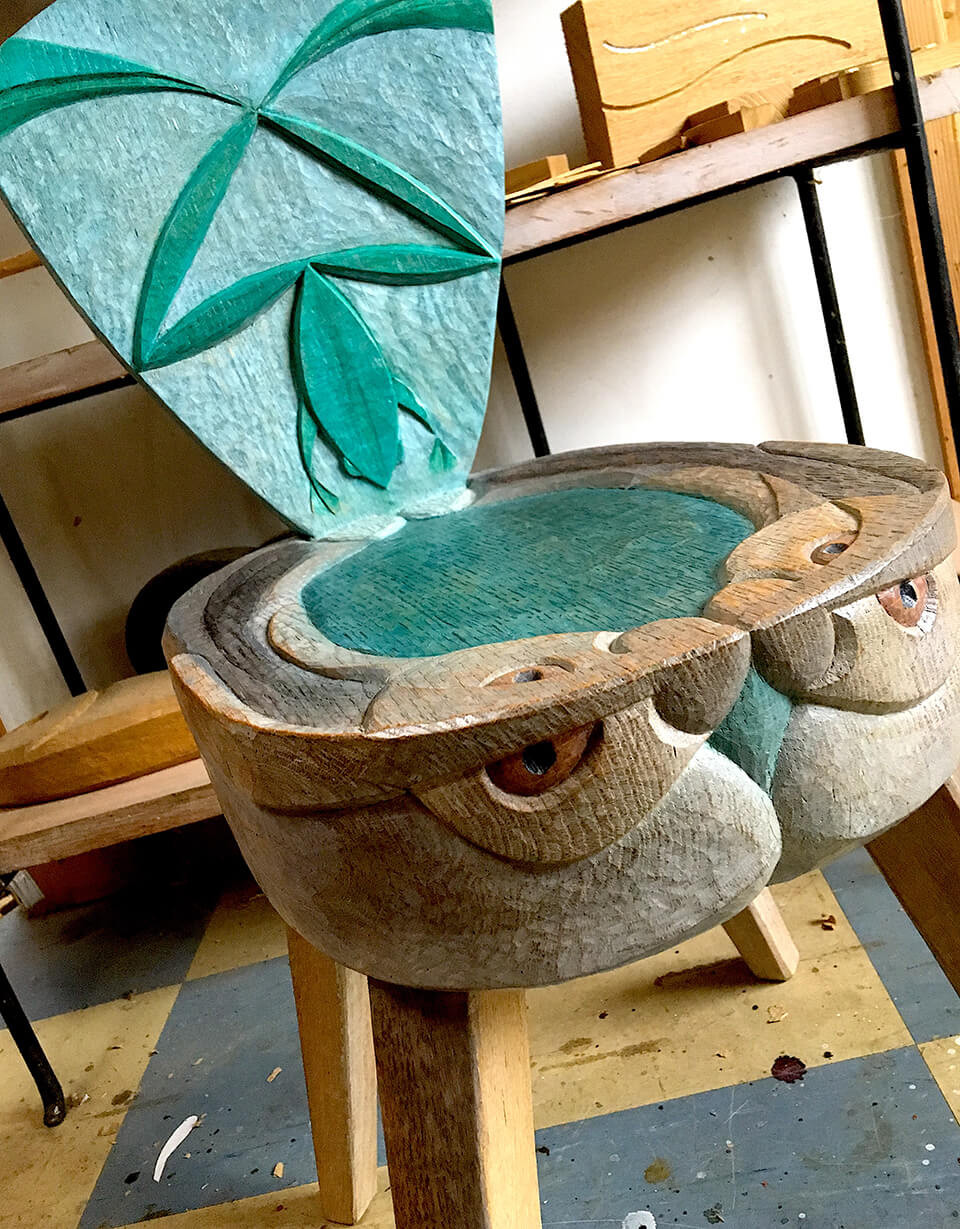 Nicola Henshaw Frog and Hare Chair in artist's studio copy