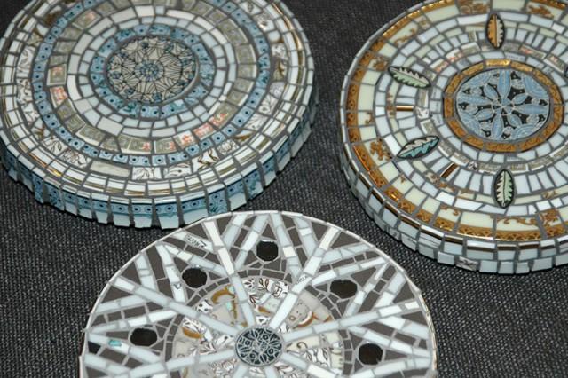 Three wall mosaics by Joanna Veevers