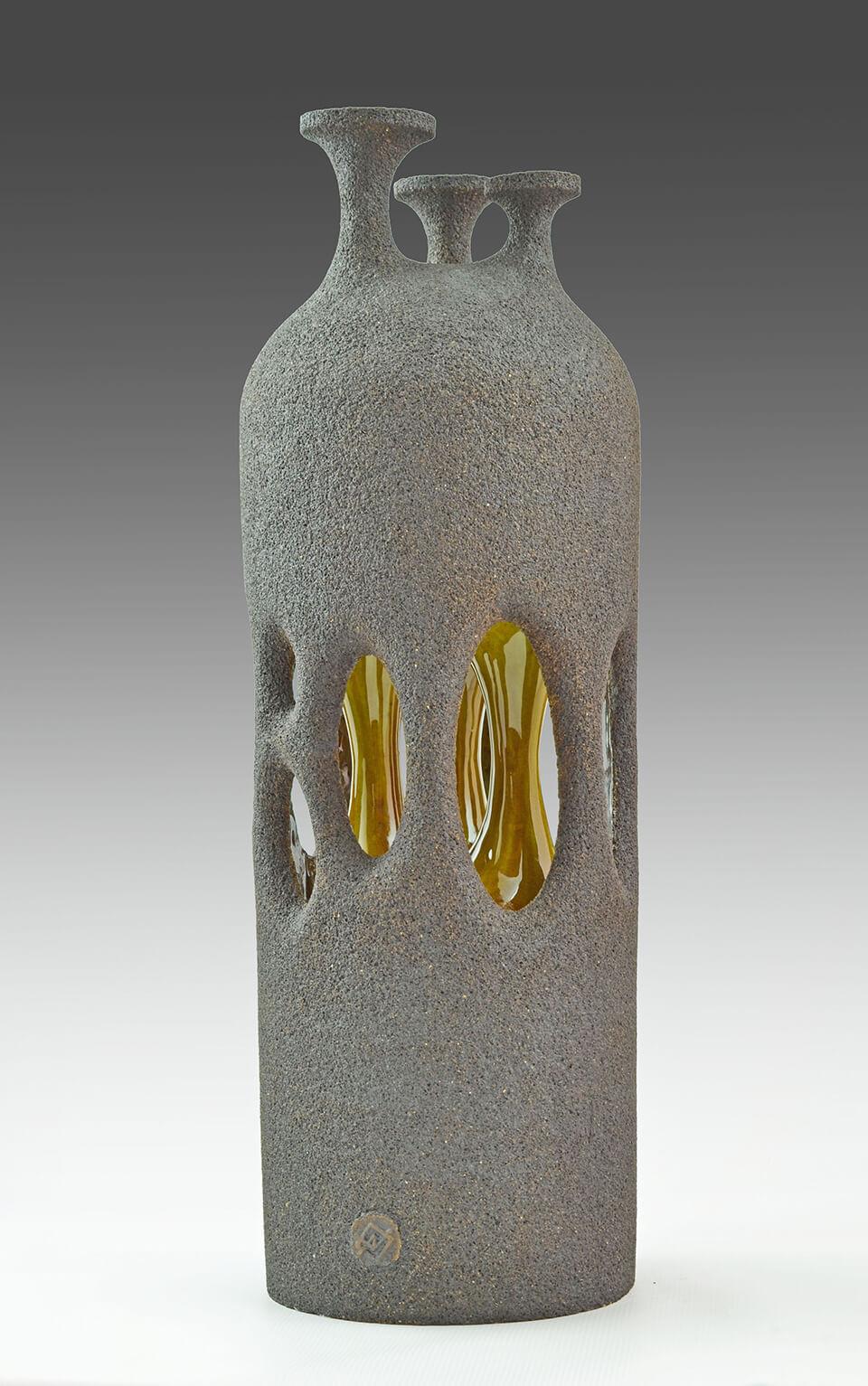 Arek Nowicki 'Three Golden Hearts' stonware with crystalline glaze