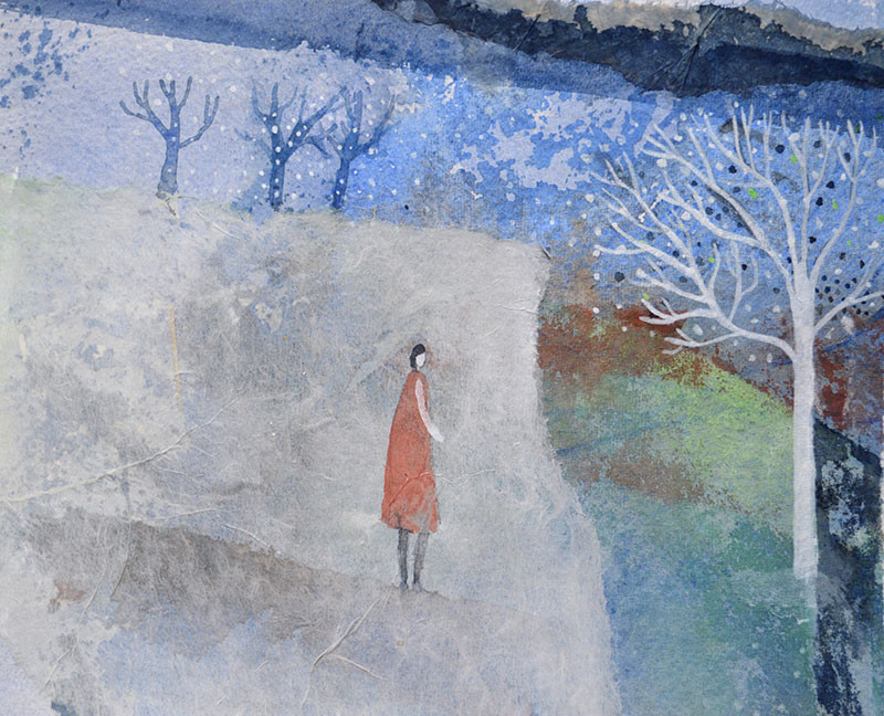 Julie-Collins-'Blue-on-Green'-mixed--media_framed