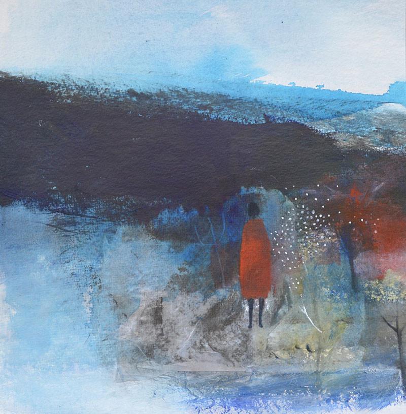 Julie-Collins-'I-walked-to--Stranraer-in-a-Red-Dress'-mixed-media_framed