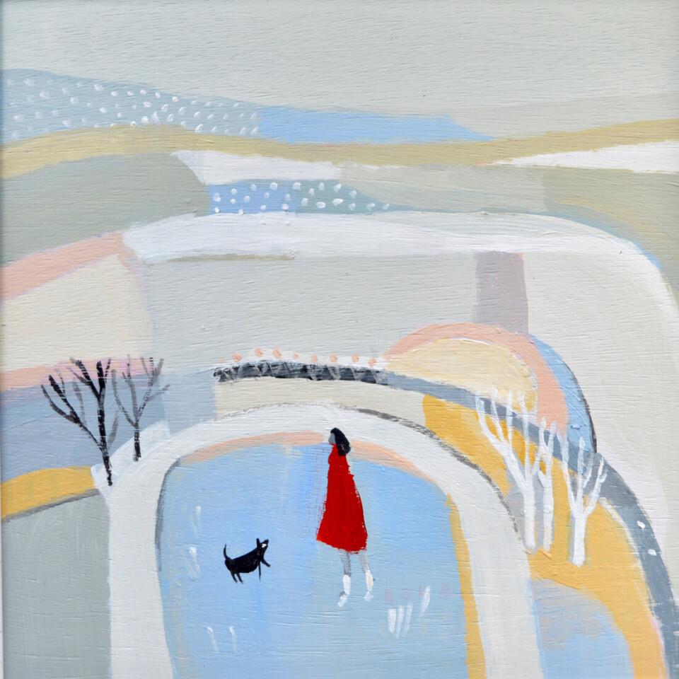 Julie Collins 'Spring Snow Moon' acryli c on gesso panel 30x30cm framed.£395