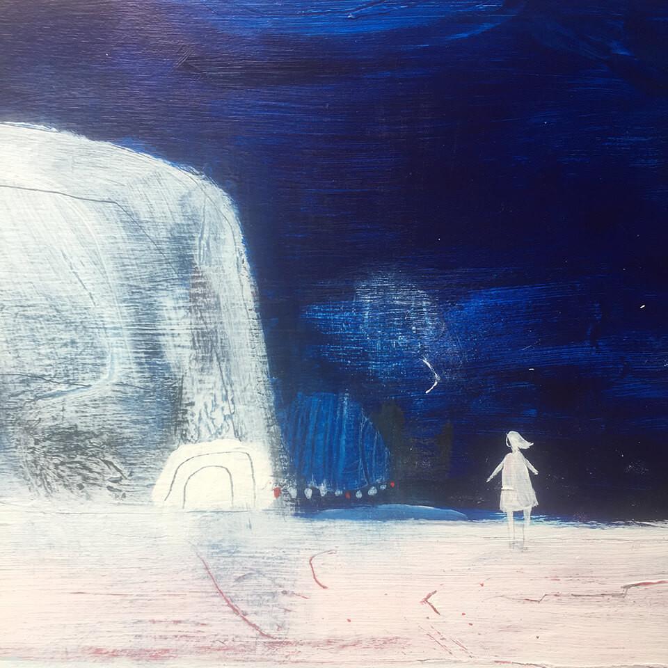 Julie Collins White Cliffs acrylic on gesso panel 30x30cm framed