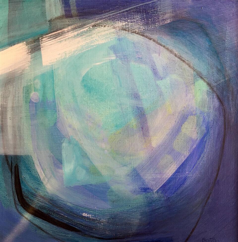 Alison Bolton 'Below the Weir' acrylic on board 40 x 40cm framed copy