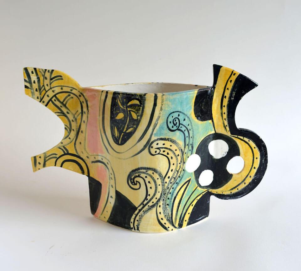 Peter Arscott Pink and Ochre Vase stoneware