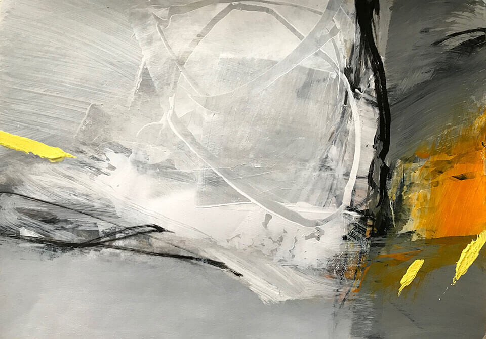 Neil Canning 'Rise and Fall' mixed media on paper 29 x 42cm framed