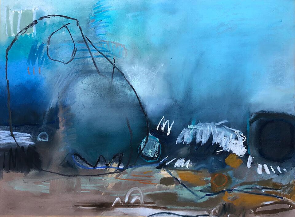 Alison Berrett 'Party on the Beach' pastel on paper 94 x 76cm framed