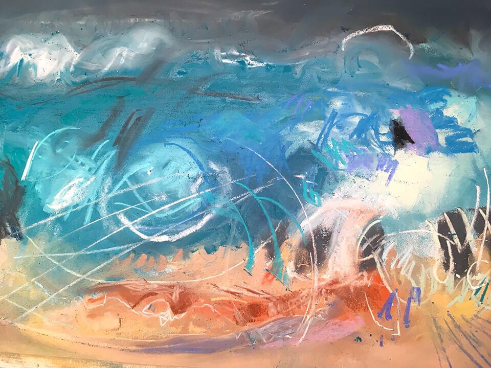 Alison Berrett 'Seascapes of the Soul - That Crashing Energy' pastel on paper 76 x 59.5cm framed