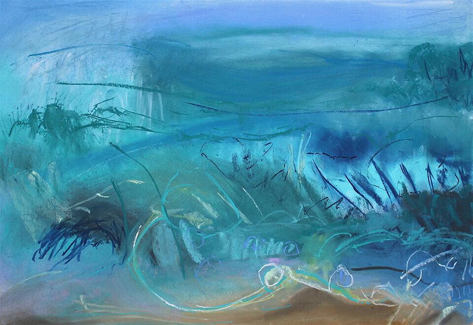 Alison Berrett 'Translucent Waves' pastel on paper 76 x 59.5cm framed