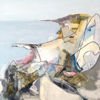 Michael Bruzon 'Finding Steep Hill Cove' oil and graphite on board 30.5 x 30.5cm framed